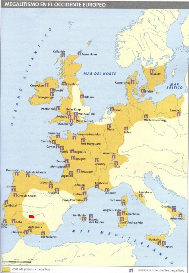 Mapa megalitismo Península Ibérica marcado